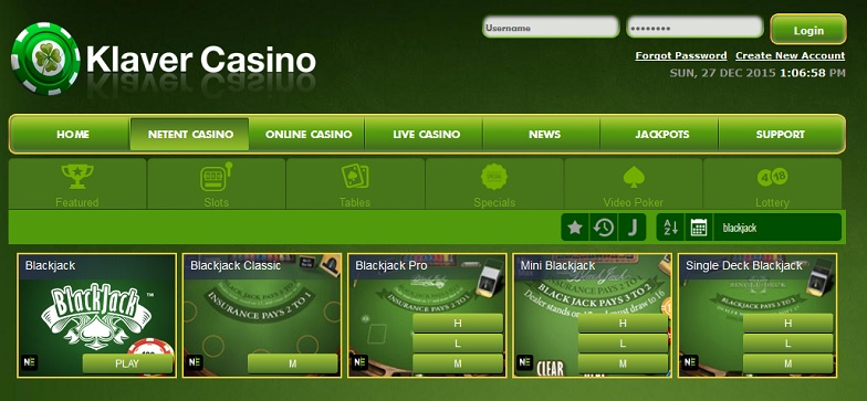Blackjack bij Klaver Casino