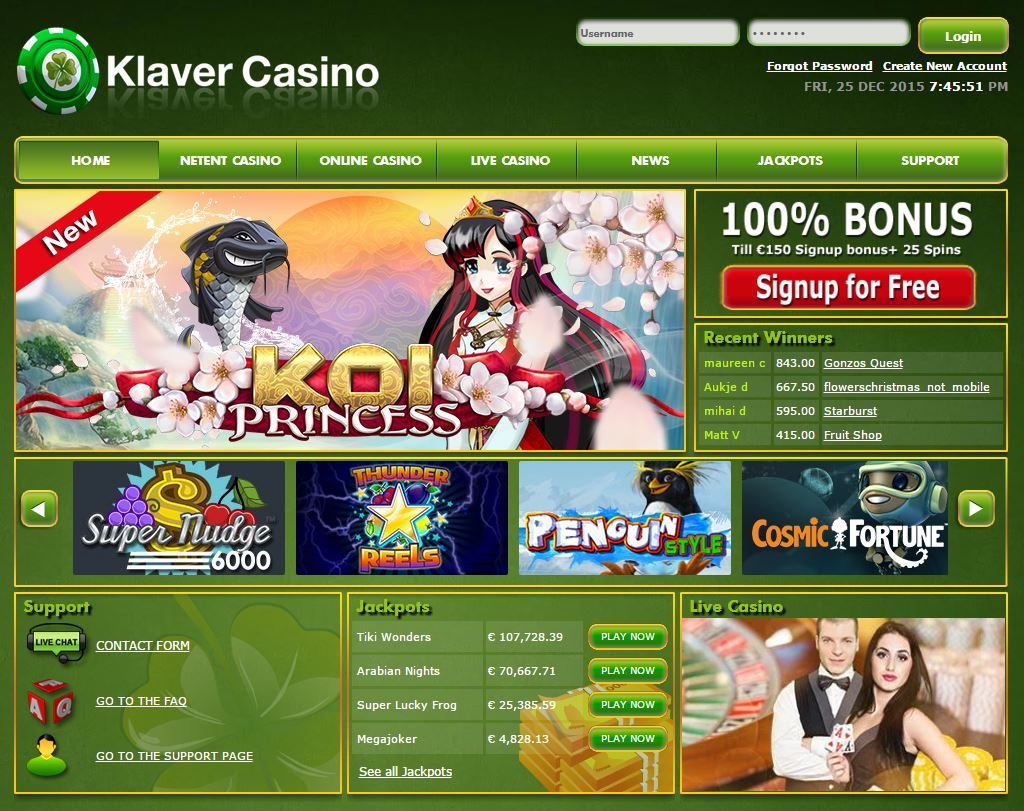 Screen Klaver Casino