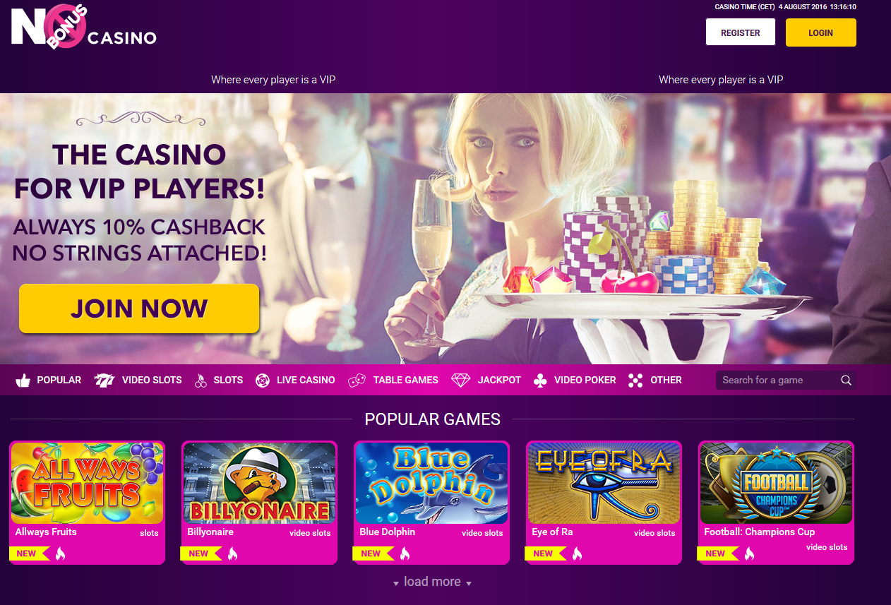 No Bonus Casino screenshot nieuw